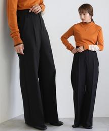 select MOCA(セレクトモカ)のハイウエストワイドパンツ/美形シルエット両ポケット付ワイドパンツ(パンツ)
