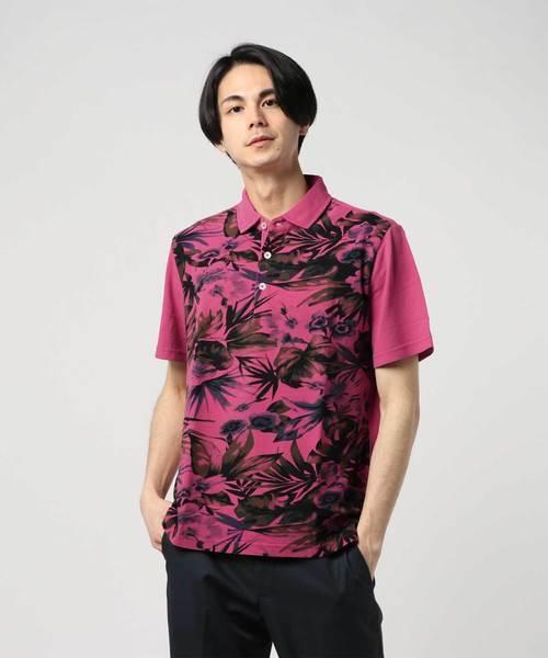 顔料染めボタニカルプリント鹿の子 ポロシャツ