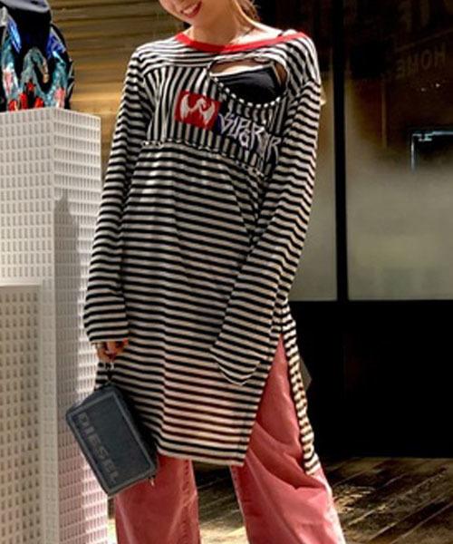 新到着 レディース Tシャツ ストライプ 長袖 ストライプ ロングTシャツ(Tシャツ Tシャツ/カットソー) DIESEL DIESEL(ディーゼル)のファッション通販, メモリアル仏壇:a7acc808 --- rise-of-the-knights.de