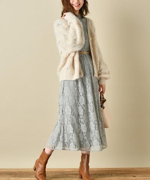 natural couture(ナチュラルクチュール)の「【WEB限定カラー有り】ヴィンテージレースワンピース(ワンピース)」 ミント
