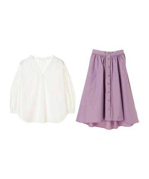 【宮崎あおいさんCM着用】SET2点 Vネックシャツ+前釦スカート