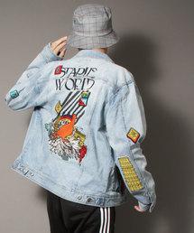 【STAPLE】プリント&刺繍&ワッペン デザイン長袖デニムジャケット(デニムジャケット)
