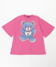 BEAR PRIMARY COLOR オーバーサイズTシャツ【L】ピンク