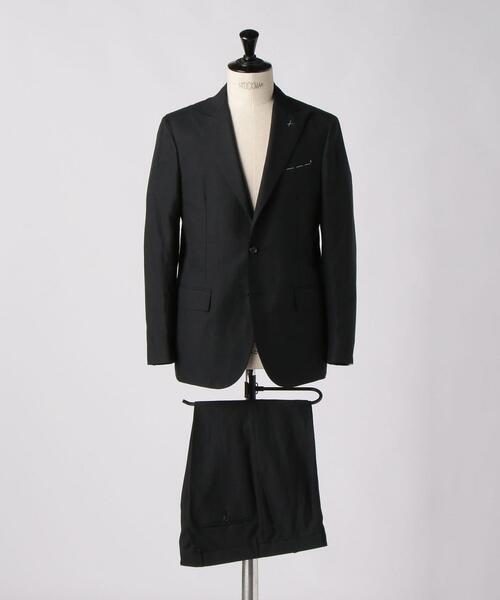 <De Petrillo(デ ペトリロ)> ブラック ピークドラペル 2B スーツ