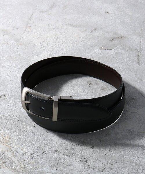 tk.TAKEO KIKUCHI(ティーケータケオキクチ)の「リアルレザーリバーシブルベルト(ベルト)」|ブラック