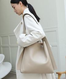 【chuclla】Wide shoulder tote bag cha188グレイッシュベージュ