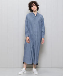 <INDIVIDUALIZED SHIRTS>BAND COLLAR SHIRT ONE PIECE BLUE/ワンピース
