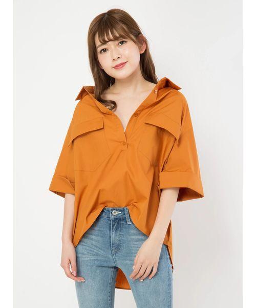 CECIL McBEE(セシルマクビー)の「バックレーススキッパーシャツ(シャツ/ブラウス)」|オレンジ