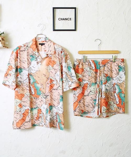 【WEB限定】別注 デザイン柄半袖開襟シャツ&ショーツセットアップ