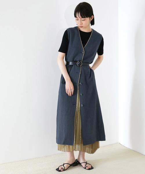 【EMMA】リネン混パイピングノースリーブワンピース