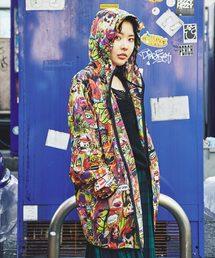 SKULLUX/COLLAGE総柄 フーデッドジャケット