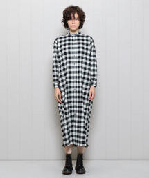 <INDIVIDUALIZED SHIRTS>BAND COLLAR SHIRT ONE PIECE BLOCK CHECK/ワンピース