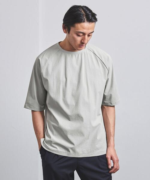 UNITED ARROWS(ユナイテッドアローズ)の「<UNITED ARROWS> ナイロンポリエステル ラグラン Tシャツ(Tシャツ/カットソー)」|ライトグレー