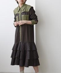ミリタリーシャツドレスカーキ