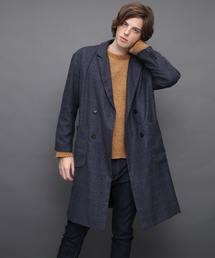 ロング丈オーバーサイズWチェスターコート(Viscose fabric)ネイビー