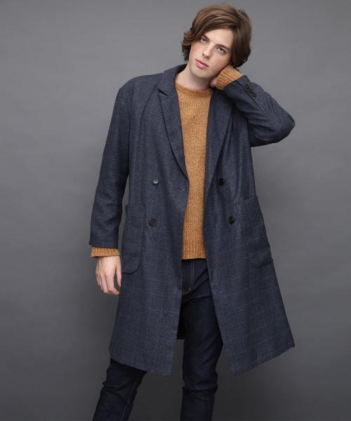 ロング丈オーバーサイズWチェスターコート(Viscose fabric)
