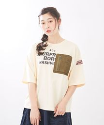 TOBILA(トビラ)の天竺 ワッペン付 クルーネックTシャツ(Tシャツ/カットソー)