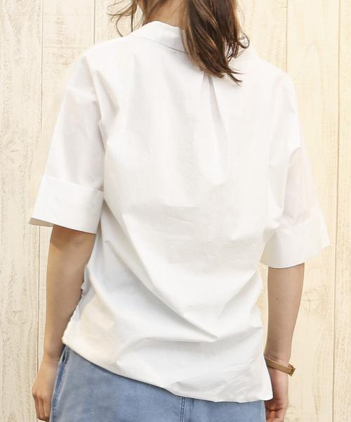 綿ハイカウントローンスキッパーシャツチュニック