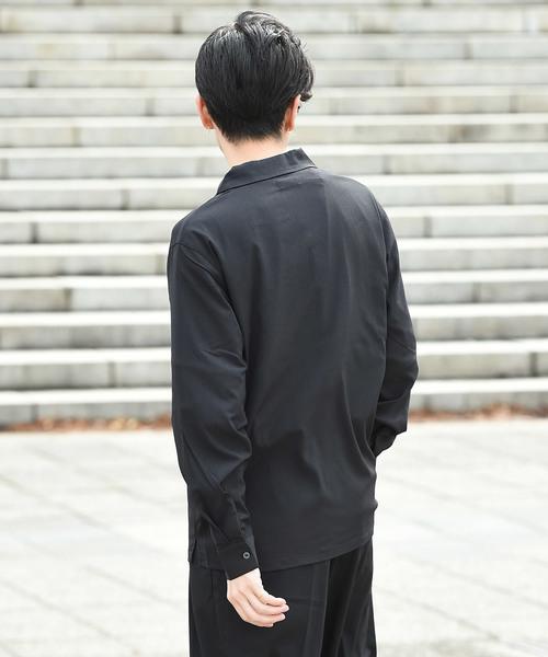 オープンカラー長袖シャツ