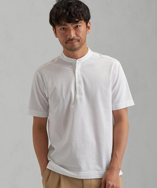 CM ドライサッカー バンドカラー 半袖 シャツ <機能性生地 / 吸水速乾>