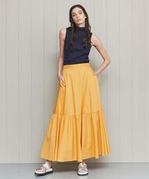<H>TYPEWRITER CLOTH TIERED MAXI SKIRT/スカート