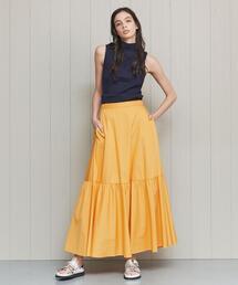 <H>TYPEWRITER CLOTH TIERED MAXI SKIRT/スカート