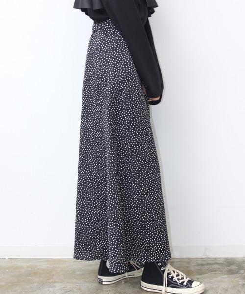 HERENCIA(ヘレンチア)の「ストレッチサテンドットフレアロングスカート(スカート)」|詳細画像
