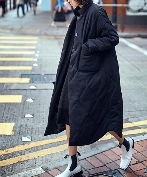 【chuclla】Shirt silhouette puffer long coat chw1379