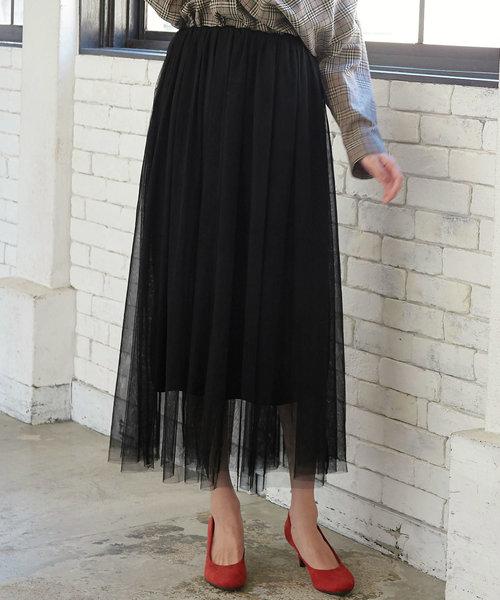 KOBE LETTUCE(コウベレタス)の「ウエストゴムマキシ丈ロングチュールフレアスカート(スカート)」|ブラック