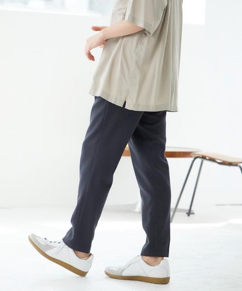 TRストレッチスーツ地フルレングスタックテーパードパンツ(MONO-MART)
