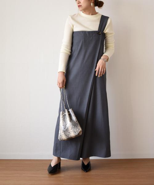 バックベルト巻きジャンパースカート