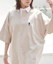 U.S. POLO ASSN. /ユーエスポロアッスン 別注ワンポイント刺繍 ビッグシルエット半袖ラガーシャツベージュ