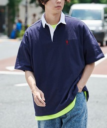 U.S. POLO ASSN. /ユーエスポロアッスン 別注ワンポイント刺繍 ビッグシルエット半袖ラガーシャツネイビー
