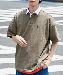 U.S. POLO ASSN. /ユーエスポロアッスン 別注ワンポイント刺繍 ビッグシルエット半袖ラガーシャツオリーブ