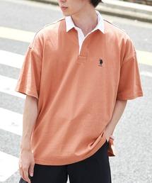 U.S. POLO ASSN. /ユーエスポロアッスン 別注ワンポイント刺繍 ビッグシルエット半袖ラガーシャツオレンジ