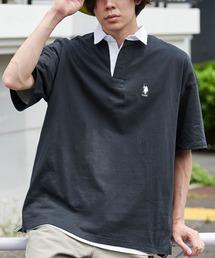 U.S. POLO ASSN. /ユーエスポロアッスン 別注ワンポイント刺繍 ビッグシルエット半袖ラガーシャツブラック