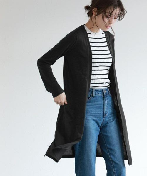 Pierrot(ピエロ)の「UVカット&吸汗速乾ロング裾スリットカーディガン(カーディガン)」|ブラック