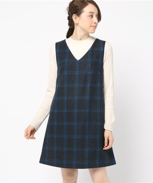 archives(アルシーヴ)の「チェックウールジャンパースカート(ジャンパースカート)」|ネイビー