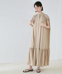 【EMMA】とろみノースリーブ裾切り替えティアードシャツワンピースベージュ