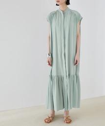 【EMMA】とろみノースリーブ裾切り替えティアードシャツワンピースブルー系その他