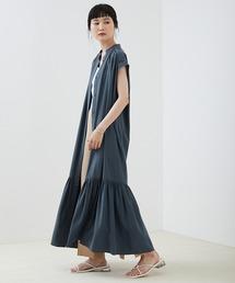 【EMMA】とろみノースリーブ裾切り替えティアードシャツワンピースブルー