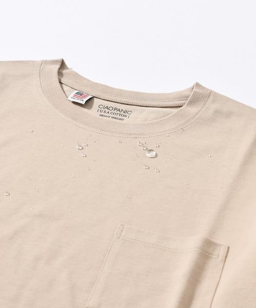 CIAOPANIC(チャオパニック)の「USAコットンCOOLMAX撥水Tシャツ(Tシャツ/カットソー)」|ベージュ