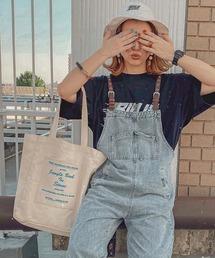 Rename キャンバス マーケットバッグ トートバッグ 大容量ホワイト×ブルー