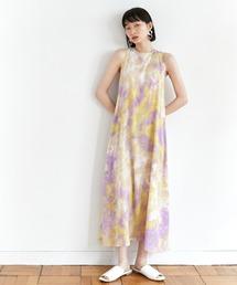 【EMMA】水彩アートプリントバックオープンノースリーブワンピースパープル
