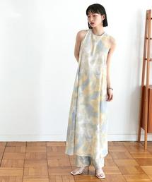 【EMMA】水彩アートプリントバックオープンノースリーブワンピースブルー