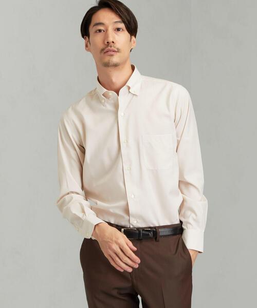 [JUST LENGTH] ACTIVE PLUS スリム マイクロチェック ショートボタンダウンー ドレスシャツ