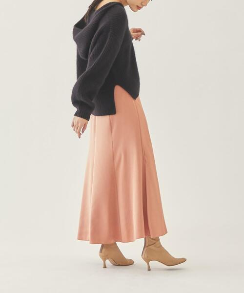 【EMMEL REFINES】EM PEサテンセミフレア スカート