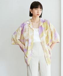 【EMMA】水彩アートプリント半袖シャツパープル