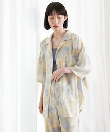 【EMMA】水彩アートプリント半袖シャツブルー