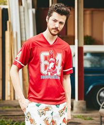 84 SOUNDS プリント VネックTシャツ